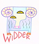 Sternzeichen Widder - abstrakte Zeichnung des Tieres, blaue Frabtöne