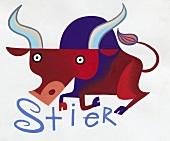 Sternzeichen Stier - abstrakte Zeichnung des Tieres, rote Frabtöne