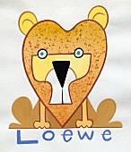 Sternzeichen Löwe - abstrakte Zeichnung des Tieres, Orange + Gelb
