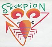 Sternzeichen Skorpion - abstrakte Zeichnung des Tieres, Orange