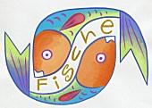 Sternzeichen Fische - abstrakte Zeichnung, bunt