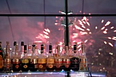 Bottles of alcohol in City space bar, Swissotel, Moscow, Russia, Blur