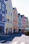 View of facade bof colourful houses and street in Passau, Germany
