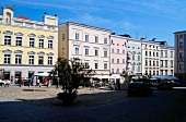 Colourful houses near market place in Passau, Germany