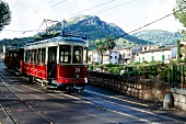 Tram moving on streets of Soller, Majorca island, Spain