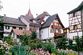 Flower beds in front of medieval houses in Sempach, Sursee, Switzerland