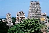 Blick auf den Minakshi-Tempel in Madurai in Süd-Indien
