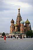 Tourist at St. Basil's Cathedral in Moscow, Russia
