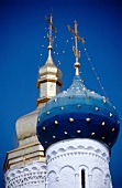 Close-up of blue dome of Orthodox Church, Russia