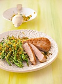 Putenschnitzel mit grünen Bohnen