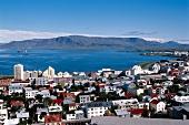 Elevated view over Reykjavik and Atlantic ocean, Iceland