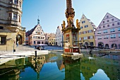 Marketplace with fountain in Rothenburg ob der Tauber, Germany