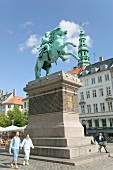 Equestrian statue of Bishop Absalon at Hojbro Plads in Copenhagen, Denmark