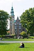 View of Rosenborg Castle with garden in Copenhagen, Denmark