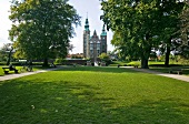 View of Rosenborg Castle and castle park in Copenhagen, Denmark