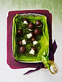 Marzipan mushrooms in a gift box