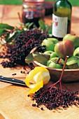 Fresh apples, elderberries, lemons and wine