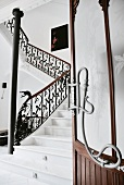White marble staircase with railing in Hotel L'Avenida, Mallorca, Balearic Islands, Spain