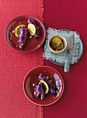 Red cabbage roulade with dried plums, marzipan, walnuts and lemons