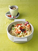 Spaghetti with prawns, ginger and star anise