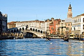 Rialto Bridge and facade of buildings beside Grand Canal, Venice, Italy