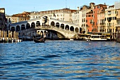 Rialto Bridge and facade of buildings on Grand Canal, Venice, Italy