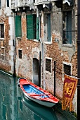 Empty boat moored in Grand canal, Venice, Italy
