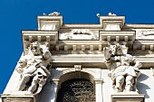Low angle view of sculptures of Santa Maria dei Derelitti church in Venice, Italy