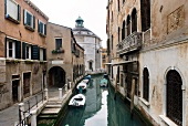 Houses on narrow canal in Venice, Italy