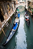 Two gondolas in narrow canal, Venice, Italy, Elevated View