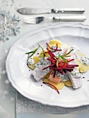 Various types of fish fillet in a creamy herb sauce and beetroot strips (Christmas)