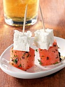 Melon and feta on sticks