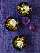Warm lentil salad with roasted goat's cheese