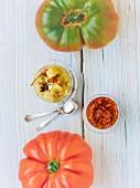 Green tomato chutney and red tomato pesto