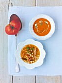 Cream of tomato soup and bean soup