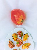 Crostini with a duo of tomato tartar