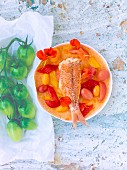 Fried red mullet in a pepper and tomato broth