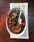 Venison ragout with mushrooms (seen from above)