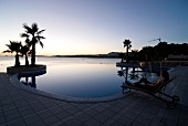 View of Le Meridien Lav and sea at dusk in Split, Dalmatia, Croatia