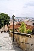 People climbing the steps to Prague castle, view of city in background