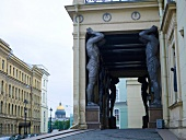 Sculptures on the pillars and passage of Hermitage Museum in St. Petersburg, Russia