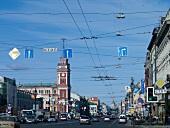 View of transport of Nevsky Prospekt in St. Petersburg, Russia