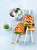 Salmon teriyaki skewers with chestnuts rice