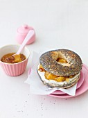 A ricotta bagel with orange and date confiture