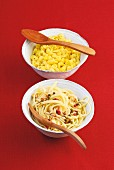 Saffron Spätzle (soft egg noodles from Swabia) and pasta with pine nuts and pepper