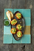 Stuffed tomatoes on tray