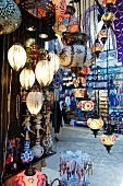 Lamps in display at Grand Bazaar, Istanbul, Turkey