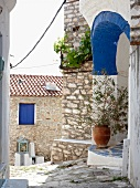 Stone houses and alley on Pelion Mountain, Eastern Magnesia, Greece