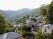 View of stone houses on Pelion Mountain, Eastern Magnesia, Greece