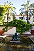 Sculpture fountain at Quinta da Bela Vista garden in Funchal, Madeira, Portugal